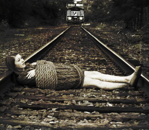 tied on train track